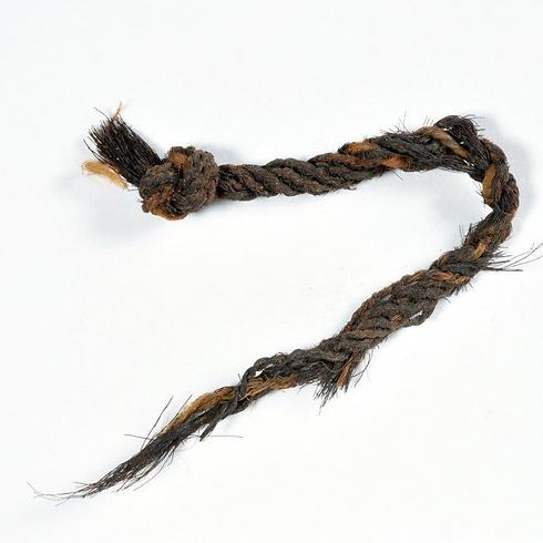 חבל משיער עיזים שנחשף בתמנע   (צילום: קלרה עמית, רשות העתיקות)