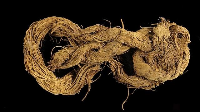 """חבל עשוי סיבי עץ תמר מאתר """"גבעת העבדים"""" בתמנע  (צילום: קלרה עמית, רשות העתיקות)"""