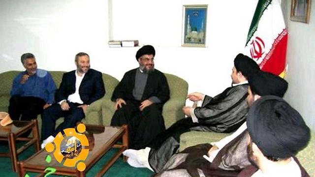 משמאל לימין: קאסם סולימאני, מפקד כוח קודס במשמרות המהפכה, עימאד מורנייה, חסן נסראללה וחסן חומייני, נכדו של מייסד הרפובליקה האיראנית (ארכיון) ()