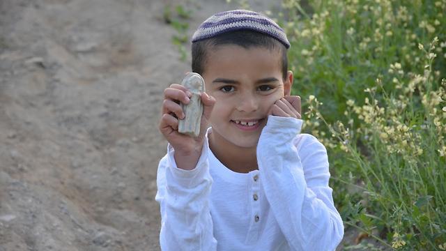 Ori Greenhut with his find (Photo: Moriya Greenhut)
