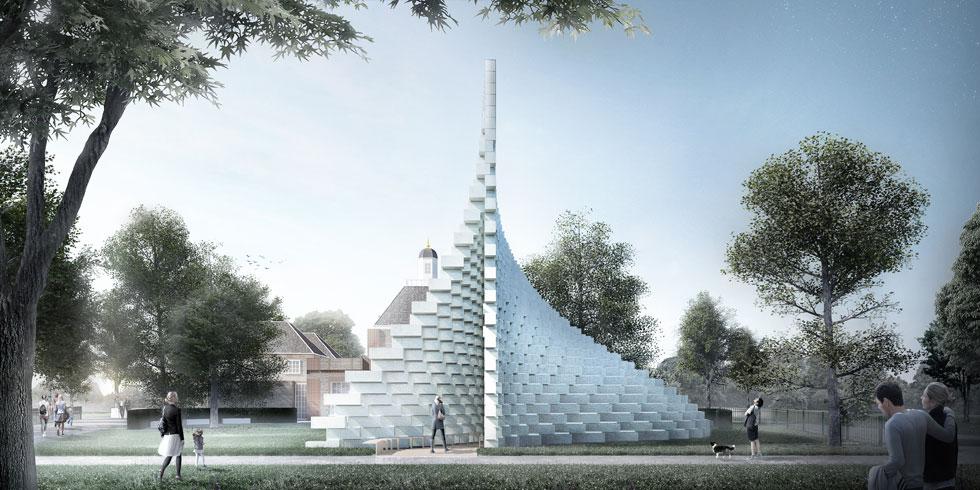 וזה היה הביתן המצליח ביותר מבחינת מספר המבקרים, לפני שלוש שנים בתכנונו של ביארקה אינגלס (הדמיה: Serpentine Pavilion 2016 designed by  BIG; Design render © Bjarke Ingels Group BIG)