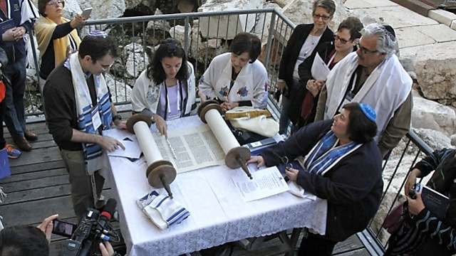 Reform Jews praying near the Western Wall. They're not waiting for 'legitimization' (Photo: Y.R.)