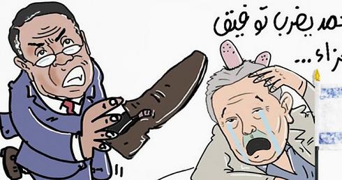 קריקטורה על השלכת הנעל ()