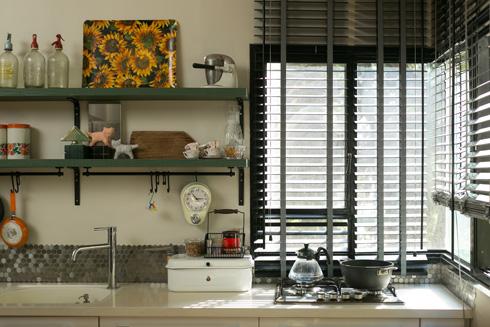 למטבח נוספו מדפים ירוקים ופסיפס נירוסטה (צילום: שירן כרמל)
