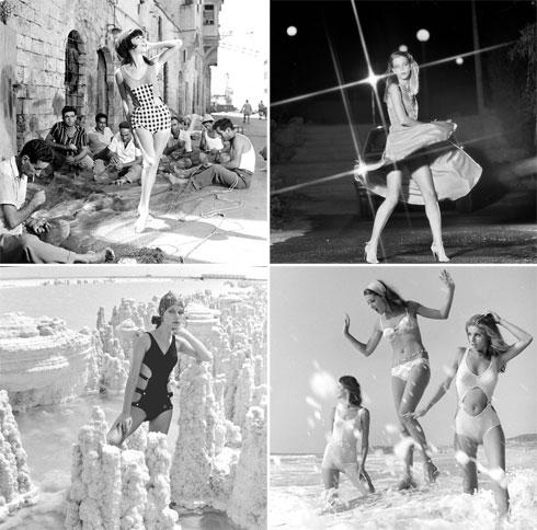 """משמאל למעלה, עם כיוון השעון: צילומים לגוטקס בנמל יפו, 1963; חלי גולדנברג לספורטלייף, 1979; חני פרי, דניאלה טולדנו ודוגמנית מחו''ל לבגדי הים דיווה, 1969; קארין דנסקי למותג אלסטקס, 1969. """"צילמנו אותן עוד לפני שהן התפרסמו. כשהן התחילו, מי ידע מי הן?"""" (צילום: מולה עשת)"""