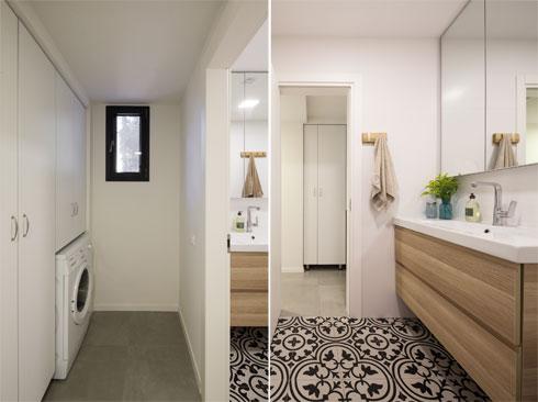 מימין חדר הרחצה, שרצפתו מחופה באריחי גרניט מאוירים בשחור-לבן. משמאל: ארון השירות שממול (צילום: טל ניסים)