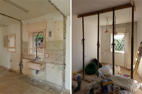 הדירה במהלך השיפוץ (צילום: סיון קונוולינה)