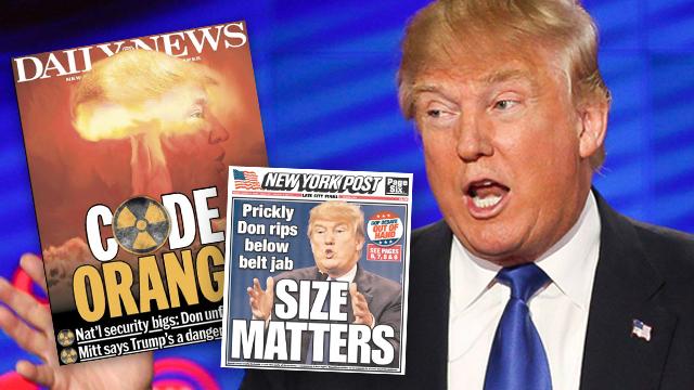"""""""קוד כתום"""". שערי העיתונים בניו יורק נגד טראמפ (צילום: רויטרס) (צילום: רויטרס)"""