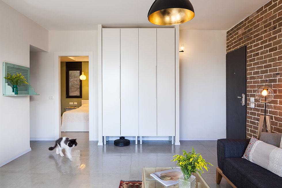 בין  דלת הכניסה למסדרון שמוביל לחדר הרחצה מוקם ארון גדול שמשמש כמקום האחסון העיקרי בבית (צילום: טל ניסים)