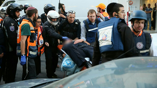 Scene of the shooting in Jerusalem (Photo: Hillel Meir, TPS)