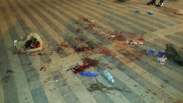 Blood at the scene of the attacks in Jaffa (Photo: Noam Dvir)