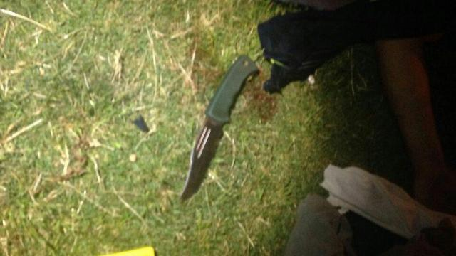 Knife used by the terrorist in Jaffa (Photo: Noam Dvir)