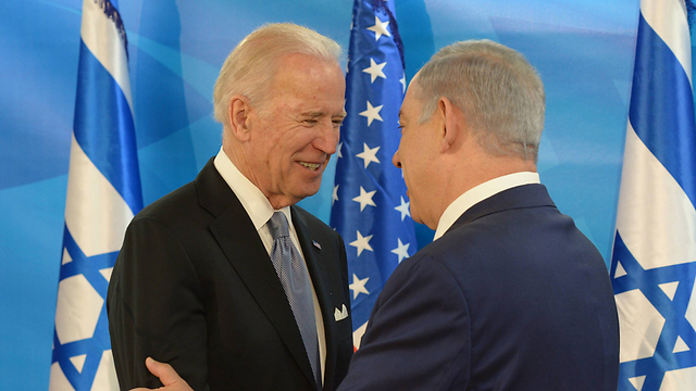US Vice President Joe Biden with PM Benjamin Netanyahu (Photo : Amos Ben Gershom, Israeli GPO)