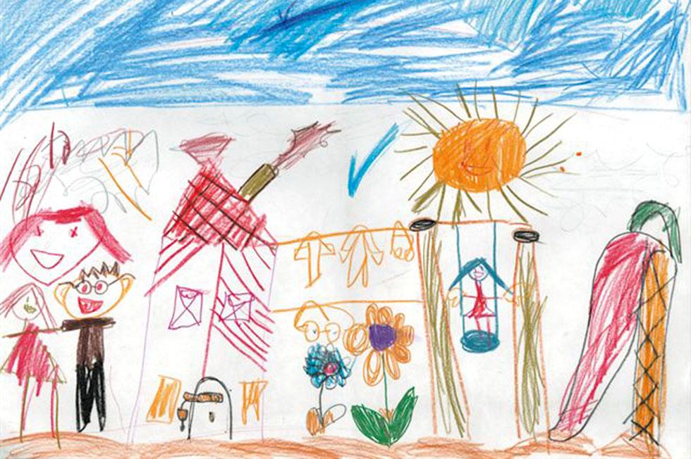 ציור של ילד, עם סימנים רבים למקובלות חברתית