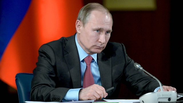 פוטין בפגישה הערב (צילום: EPA, ALEXEY NIKOLSKY) (צילום: EPA, ALEXEY NIKOLSKY)