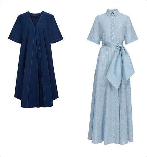שמלת מקסי בצבע תכלת (מחיר בתוספת חגורה, 155 שקל), 1,035 שקל; שמלת מידי בצבע ג'ינס, 555 שקל  (צילום: עדי גלעד)