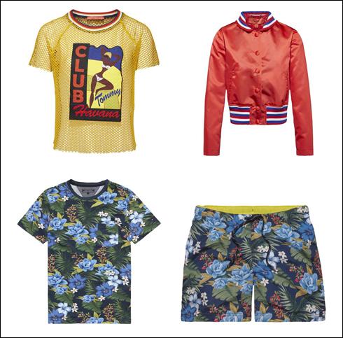 חולצת רשת, 649 שקל; ז'קט קולג' מבריק לנשים, 1,990 שקל; מכנסיים קצרים לגברים, 379 שקל; חולצת טי בהדפס פרחים לגברים, 299 שקל