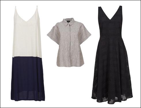 שמלה שחורה, 890 שקל; חולצה מכופתרת, 499 שקל; שמלת יום בכחול ולבן, 690 שקל (צילום: עדי גלעד)