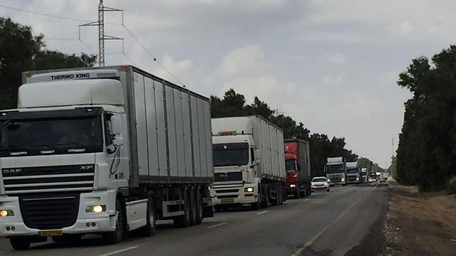 מחאת נהגי המשאיות בכביש 232 (צילום: מועצה אזורית אשכול)