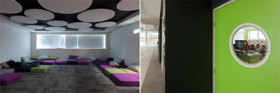 כיתת לימוד ומרבץ לסטודנטים. צבעוניות עליזה ומתפרצת, בעיצוב האדריכלים פזית ואיתי שמוטר, סטיו אדריכלים (צילום: טל ניסים)