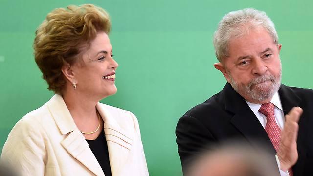 מסובכים בשחיתות. לולה ומחליפתו בתפקיד רוסף (צילום: AFP)
