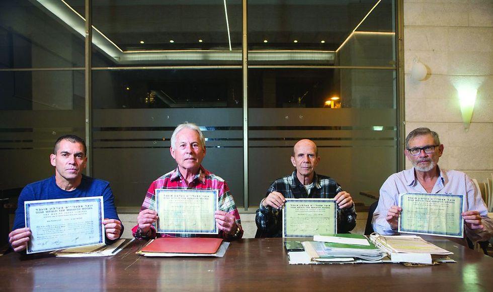 )מימין לשמאל( כרמל, פרנס, טננבוים והחנוכי. מחזיקי מניות המיעוט (צילום: תומי הרפז)