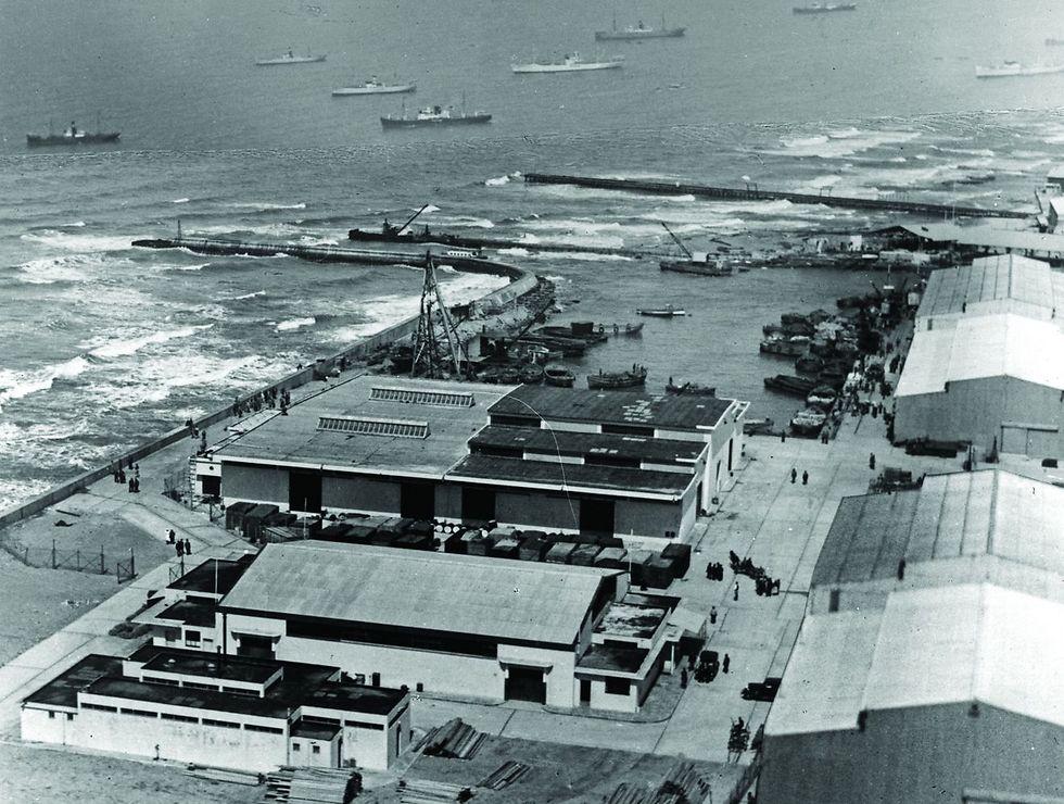 """נמל תל אביב, 1936 . """"קראו להם לתרום להתפתחות היישוב וזה מה שהמשפחות שלנו עשו. מתוך ציונות"""" (צילום: לע""""מ)"""