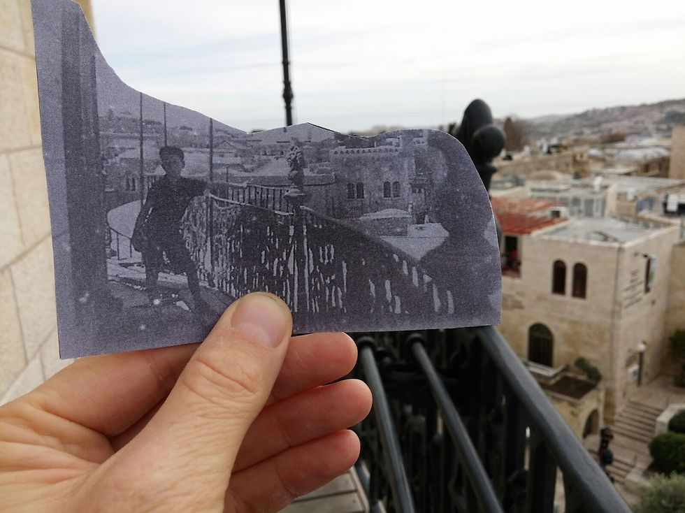 Aaron Frieman on the roof of the Hurva synagogue, 1940's, Jerusalem (Photo: The Society for the Reconstruction and Developement of the Jewish Quarter)