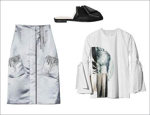 כפכפי סאטן, 349 שקל; חולצת פופלין, 199 שקל; חצאית סאטן רקומת חרוזים, 449 שקל  (צילום: H&M קונצ'ס אקסלוסיב, הנס מוריץ)