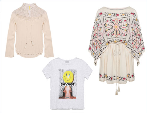 שמלה רקומה, 879 שקל; חולצת טי, 259 שקל; חולצה עם צווארון קרושה, 549 שקל  (צילום: ולרי בלקינד)