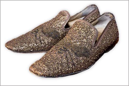 """נעליים מוזהבות מפאייטים עם דוגמה של שפירית, דונלד פלינר. """"נעליים כאלו גורמות לך ללכת עד הסוף עם הבחירות שלך ולהרגיש הכי רוק סטאר"""" (צילום: ענבל מרמרי)"""