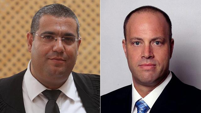עורכי הדין בני כץ (מימין) ורונן רוזנבלום (צילום: גיל יוחנן)