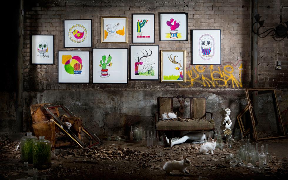 הסדרה המלאה. ''חיפשנו אמנות נאיבית ונעימה לקיר, שתשלב את הכישורים של שנינו'' (צילום: שירן כרמל )