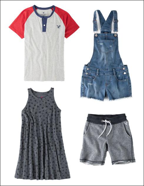 חולצת רגלן לבנים, 59.90 שקל; אוברול ג'ינס לבנות, 148.90 שקל; מכנסיים קצרים, 69.90 שקל; שמלת לבבות אפורה, 59.90 שקל (צילום: טל טרי)