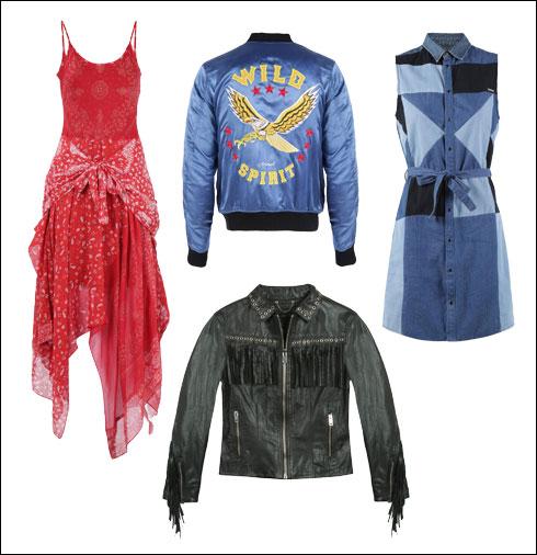 שמלת טלאים מג'ינס, 1,100 שקל; ז'קט סוביניר, 1,400 שקל; ז'קט עור, 3,300 שקל; שמלת בנדנה, 1,200 שקל (צילום: קמילה סימון)