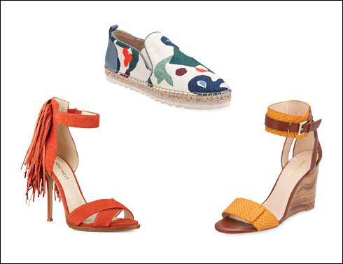 נעלי אספדריל מודפסות, 499.90 שקל; סנדלי רוקי עם סוליית עץ, 549.90 שקל; סנדלים עם פרנזים ועקבי סטילטו, 749.90 שקל