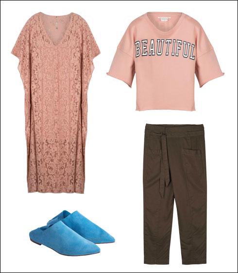 שמלת מקסי, 894 שקל; חולצה מפרנץ' טרי, 248 שקל; מכנסי דייגים, 628 שקל; נעלי באבוש מזמש, 520 שקל  (צילום: קובי מהגר)