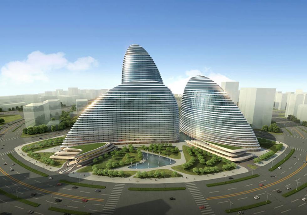 אחד הפרויקטים שמדגימים את הקו המעוגל והשימוש הדיגיטלי שבו הרבתה חדיד לעשות שימוש: מתחם Wangjing Soho בבייג'ין (הדמיה: Zaha Hadid Architects)