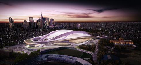 האצטדיון האולימפי בטוקיו הפך בשנים האחרונות לזירת מאבק: הפרויקט נפסל אחרי התנגדות עזה של אדריכלים יפנים, וחדיד סירבה לקבל את ההחלטה. הפרויקט זכה לכינוי ''הקסדה'' (הדמיה: Courtesy of zaha hadid Architects)