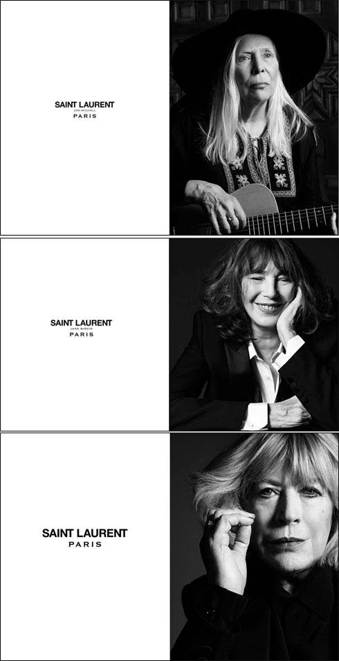 ברשימת המוזות של הדי סלימאן: ג'וני מיטשל, ג'יין בירקין ומריאן פיית'פול