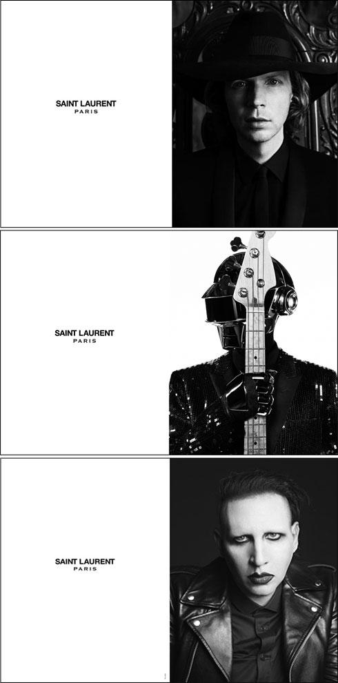בעשור האחרון הפך צילום, בעיקר של מוזיקאים והופעות, לחלק מרכזי מסדר יומו של סלימאן. מלמעלה: בק, דאפט פאנק ומרילין מנסון