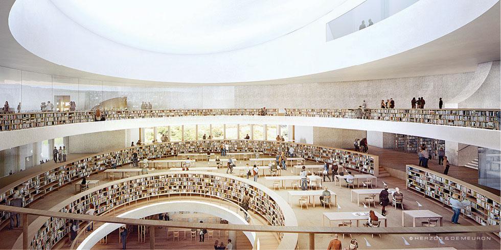הלב של הספרייה: אולם קריאה ענקי ושטוף אור שמש. המדפים הטבעתיים ימוקמו בשיפוע קל כלפי המרכז, כמו אדוות מים סביב באר אור (הדמיה: משרד הרצוג דה מרון)