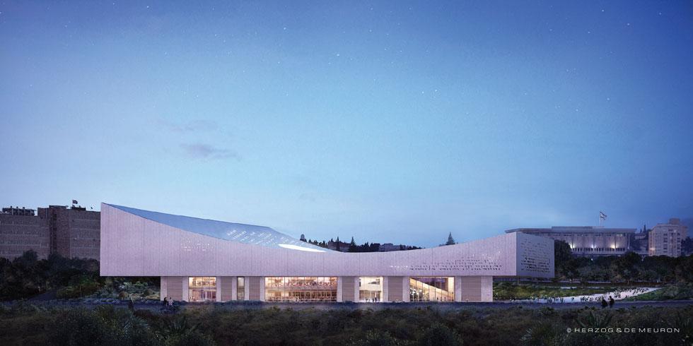 השקעה של כ-200 מיליון דולר: בין משכן הכנסת למוזיאון ישראל, גוף האבן הפיסולי יאיר את דרך רופין ללא תאורה חיצונית (הדמיה: משרד הרצוג דה מרון)