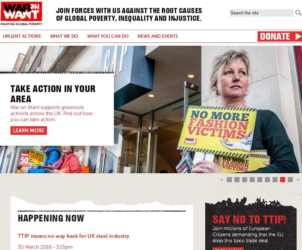 UK NGO War on Want's website