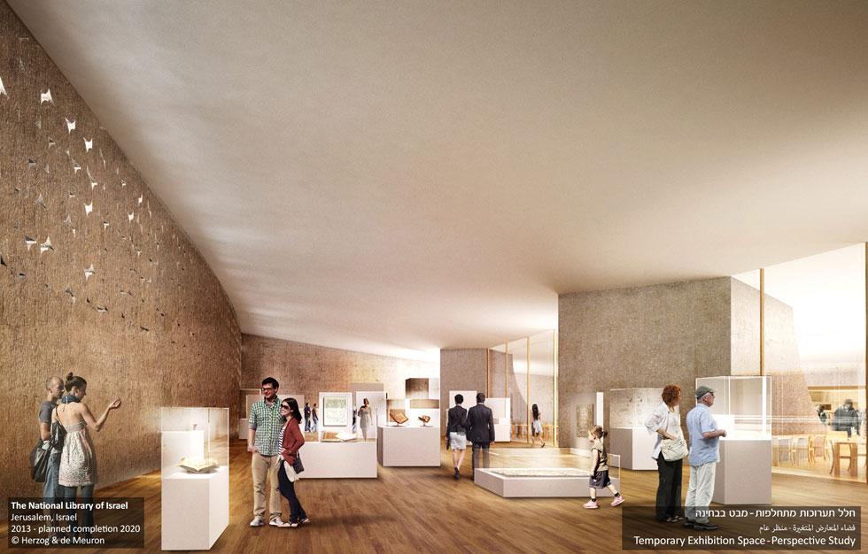 המבנה לא ישמש רק כספרייה, אלא גם כמוזיאון: לאורך המעטפת של גוף האבן העליון, סביב אולמות הקריאה, ימוקמו חללי תצוגה שבהם יוצגו תערוכות קבועות ומתחלפות (הדמיה: משרד הרצוג דה מרון)