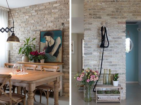 קירות לבנים בכניסה לדירה (מימין) ובפינת האוכל (צילום: גדעון לוין)