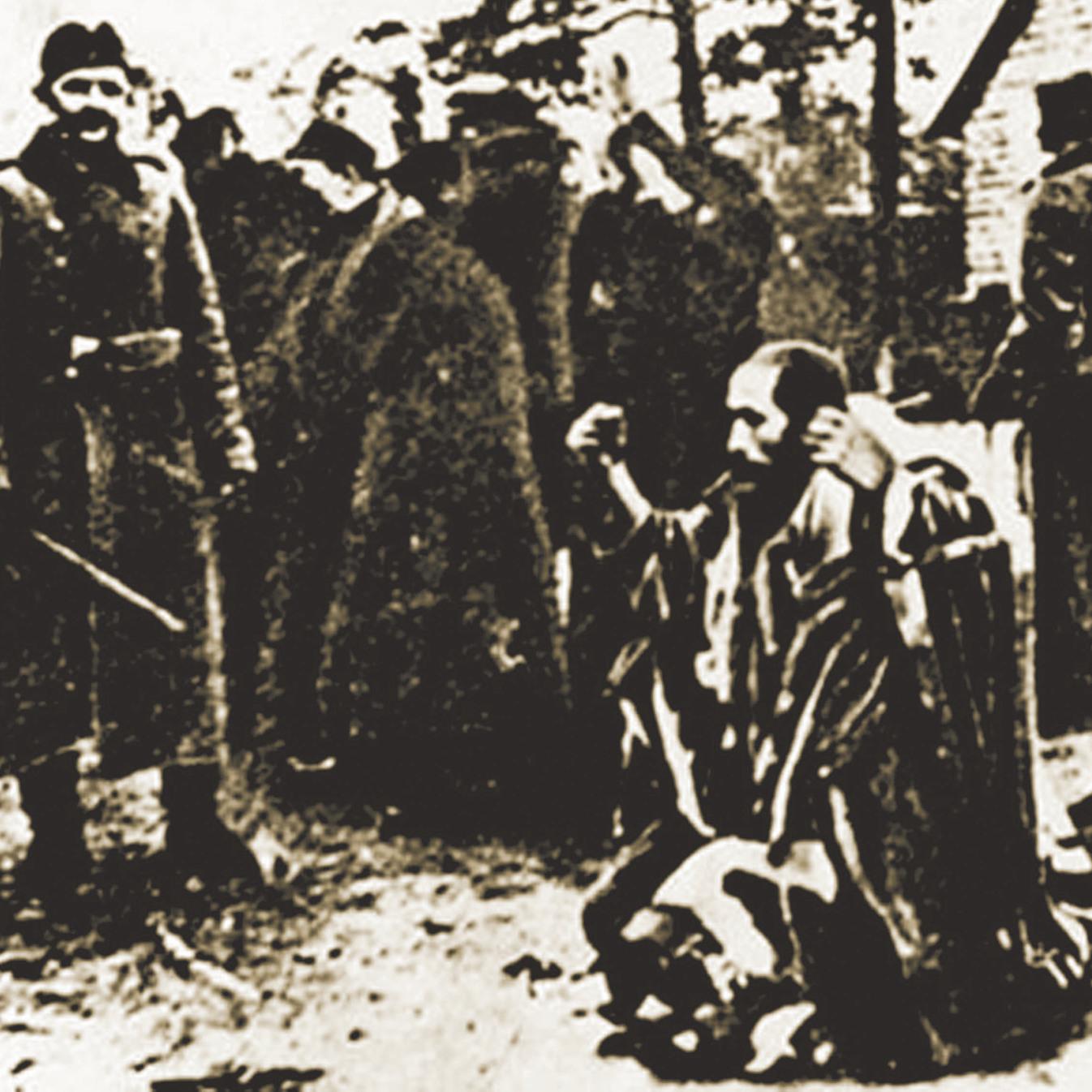 """סבו של דגן, דב ז""""ל, עטוף בטלית, מושפל על ידי החיילים הגרמנים. """"אני כאן כדי שזה לא יקרה שוב"""""""