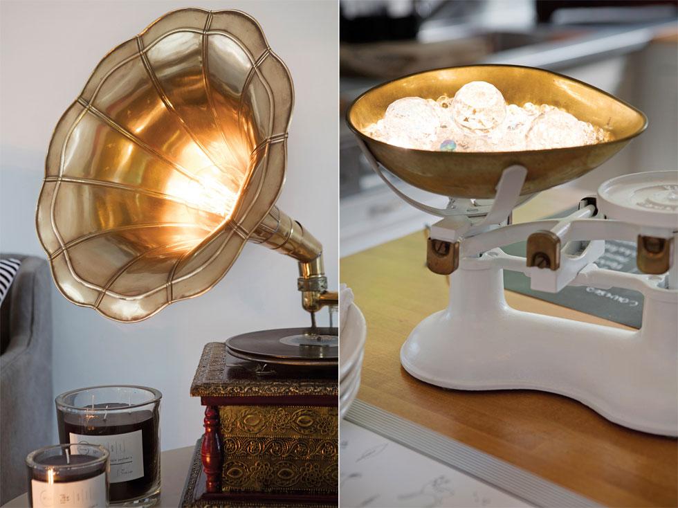 גופי תאורה מפטיפון ישן וממשקל עתיק (צילום: עדי גלעד, הפקה וסגנון: קרן ברק)
