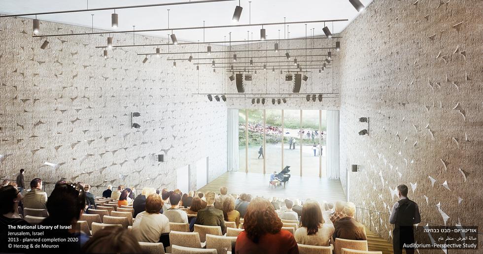 אודיטוריום בן 450 מושבים. הקיר האחורי של הבמה עשוי זכוכית, כדי לאפשר לעוברים ושבים להביט פנימה - ולהיפך (צילום: משרד הרצוג ודה מרון)