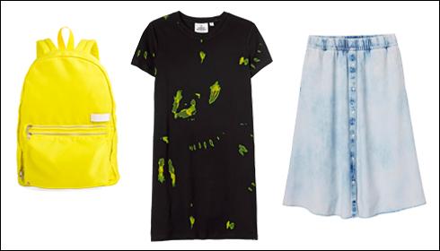 חצאית ג'ינס, 329 שקל, צ'יפ מאנדיי; שמלת טי שחורה עם מריחות, 269 שקל, צ'יפ מאנדיי; תיק ניילון צהוב, 389 שקל, State Bags NYC (צילום: Owen Lee, Jimmy bell)